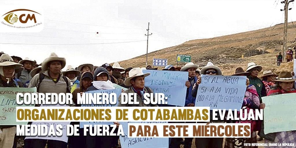 Corredor Minero del Sur: Organizaciones de Cotabambas evalúan medidas de fuerza para el miércoles 13 de octubre