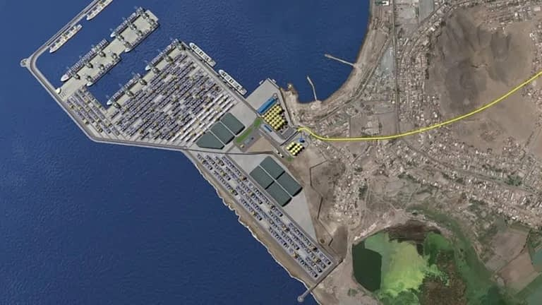 Imagen satelital del puerto de Chancay
